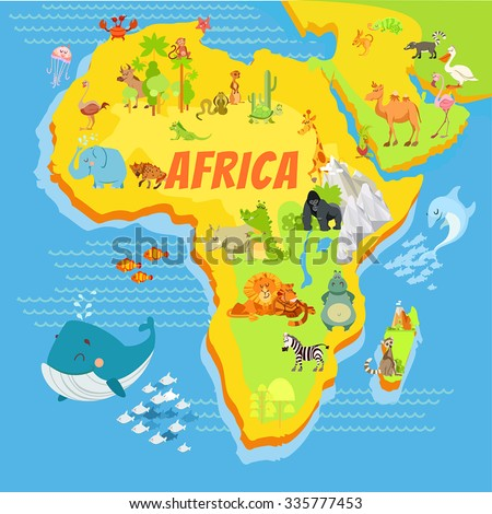 Cute Cartoon Africa Continent Map Mountainsriverstrees Stock - Map of africa for kids