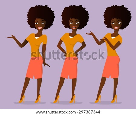 Cute cartoon african woman standing in various positions and demonstrating something. Vector illustration - stock vector