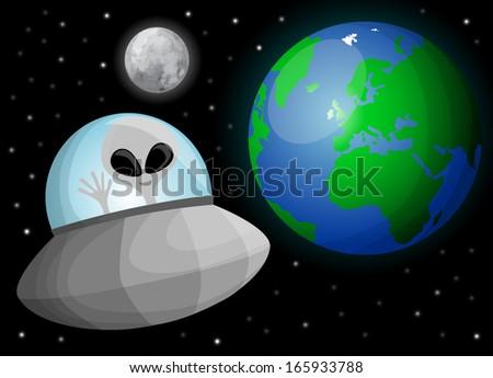 Cute cartoon alien in space - stock vector