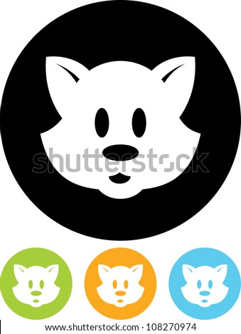 Cute cartoon animal character face - Vector icon isolated - stock vector