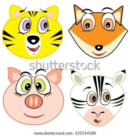 cute cartoon animal head icons - stock vector