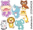 cute cartoon animal set, vector illustration with white background. - stock