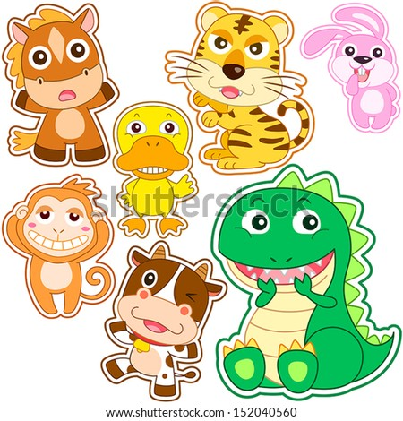 cute cartoon animal set, vector illustration with white background. - stock vector