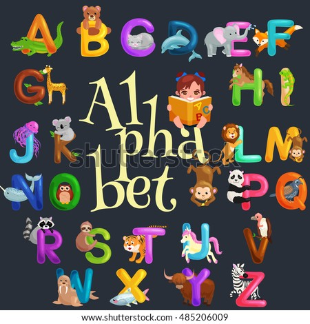 Cute Cartoon Animals Alphabet For Children Fun Vector Illustrations ABC Font Kids In Preschool