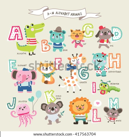 Cute cartoon animals alphabet from A to M - stock vector