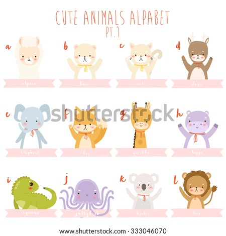 cute cartoon animals alphabet. set of twelve animals. letters from a to l. illustration of cute cartoon alpaca, bear, cat, deer, elephant, fox, giraffe, hippo, iguana, jellyfish, koala and lion - stock vector