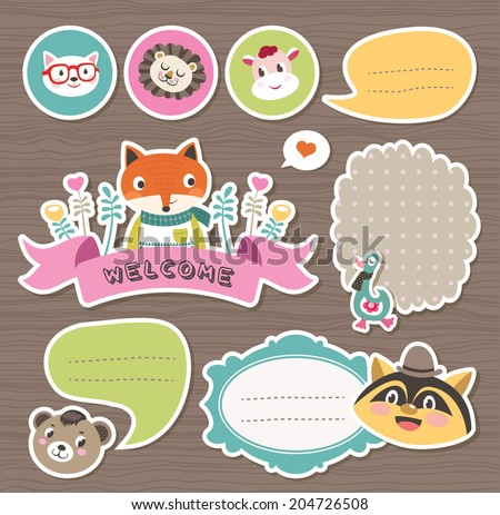 Cute cartoon animals gift tags & stickers - stock vector
