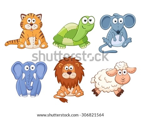 Cute cartoon animals isolated on white background. Stuffed toys set. Cat, lion, mouse, elephant, turtle, sheep. - stock vector