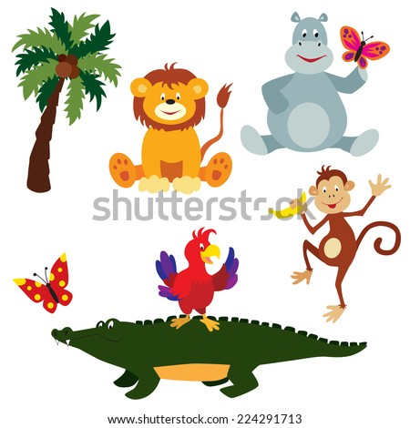 Cute cartoon animals: lion cub, hippo, crocodile, parrot, butterflies and a coconut palm