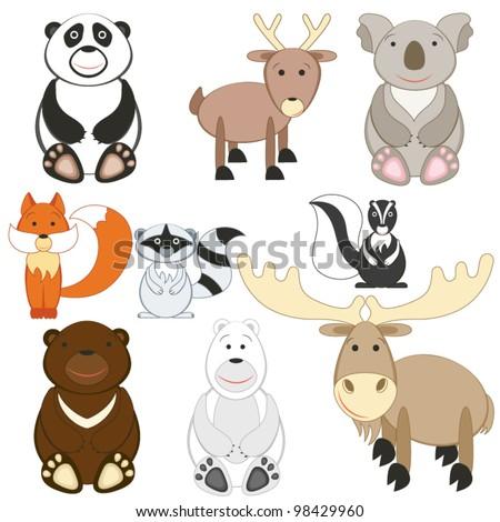 Cute cartoon animals set on white background - stock vector