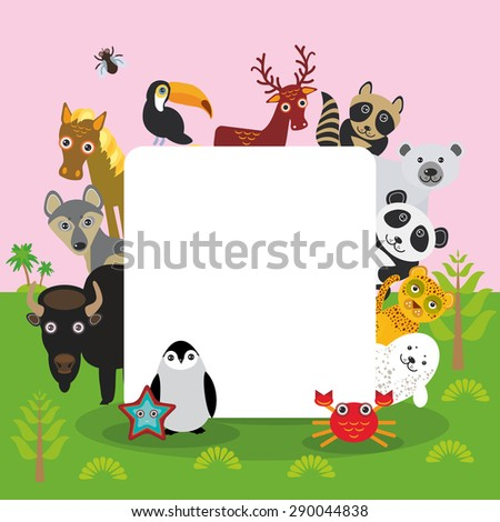 Cute Cartoon animals set toucan deer raccoon horse wolf Bison Penguin starfish crab seal leopard panda polar bear, frame, card design, banner for text. Vector - stock vector