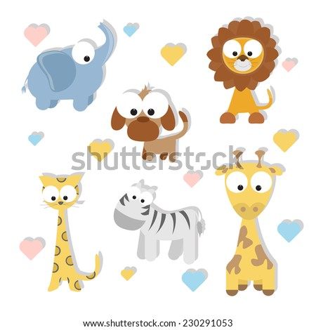 cute cartoon animals set. vector