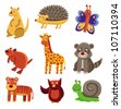 Cute cartoon animals - vector drawing set - stock vector