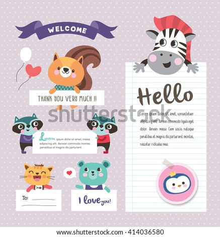 Cute cartoon animals with text space  - stock vector