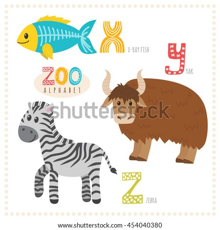 cute cartoon animals zoo alphabet with funny animals x y z letters