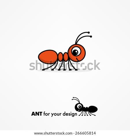 Cute Ant Logo Cute Cartoon Ant Stock