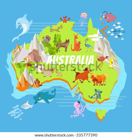 Cute cartoon australia continent map with landscapes and animals. Vector illustration for kids education,poster design - stock vector