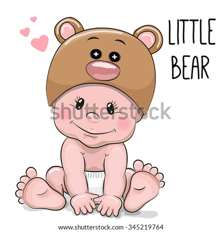 Cute Cartoon Baby boy in a Bear hat on a white background - stock vector