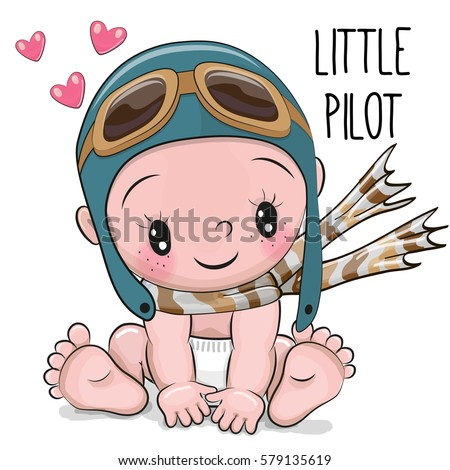 Cute cartoon baby boy pilot hat 579135619 cute cartoon baby boy in a pilot hat and scarf voltagebd Image collections