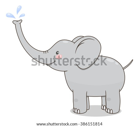 Cute cartoon baby elephant spraying water from his nose. Vector illustration - stock vector