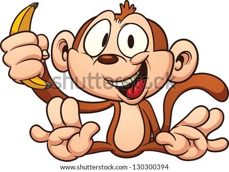 Isolated Clip Art Funny Monkey Eating Banana