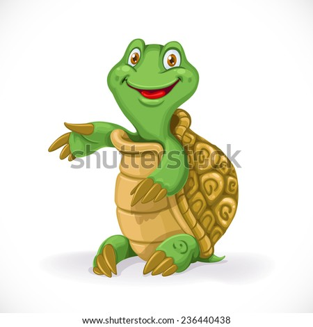 Cute cartoon baby turtle sit on floor isolated on white background - stock vector