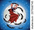 Cute cartoon Bat flying in the night sky on the background of the full Halloween moon - stock
