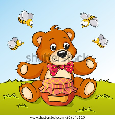 Cute cartoon bear with honey and bees