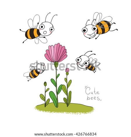 Cute cartoon bee and flowers in the meadow. Insects.  Hand drawing isolated objects on white background. Vector illustration.