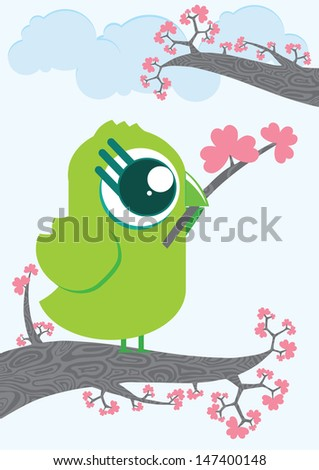 Cute cartoon bird character holding branch in beak. Bird on branch full of flowers. Clouds on background. Illustration made in Kawaii style. Vector illustration. - stock vector