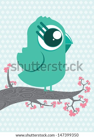 Cute cartoon bird character on the branch with flowers. Pale pastel blue background. Illustration made in Kawaii style. Vector illustration. - stock vector