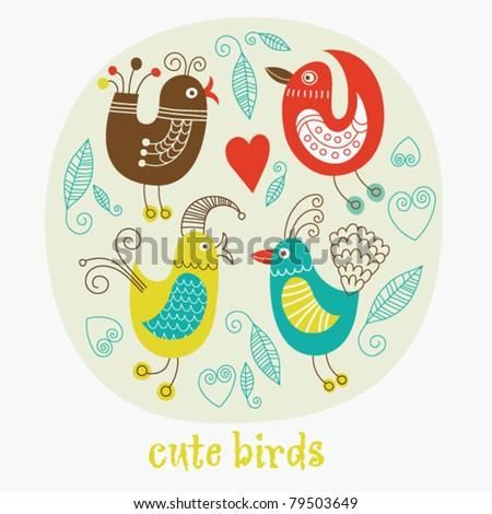 cute cartoon birds - stock vector