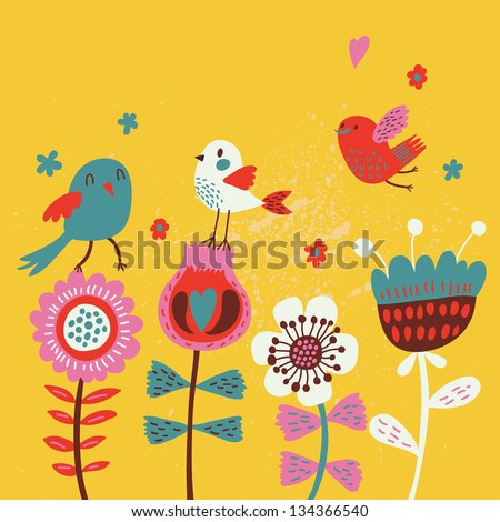Cute cartoon birds on flowers. Bright floral background in vector. Childish vintage elements - stock vector