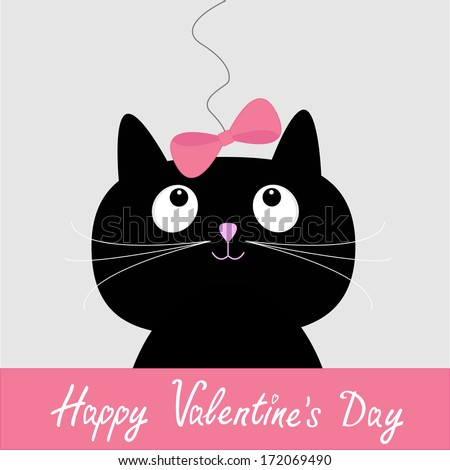 Cute cartoon black cat with pink bow. Happy Valentines Day card. Vector illustration.  - stock vector