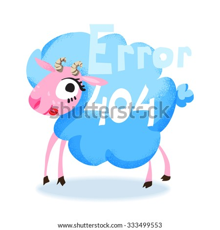 Cute cartoon blue sheep for 404 error page. Funny cartoon animal. Vector illustration.