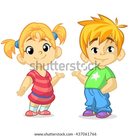 Cartoon boys and girls