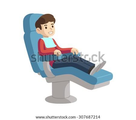 Cute cartoon boy on dental checkup smiling in chair. - stock vector