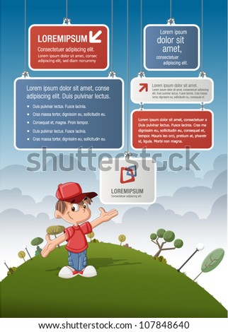 Cute cartoon boy on green park with boards for template / design. - stock vector