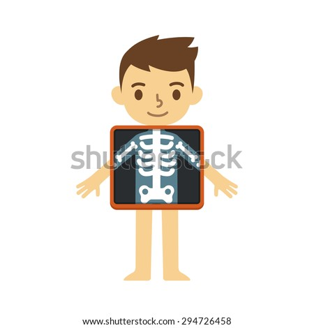 Cute cartoon boy with x-ray screen showing his skeleton. Element of educational infographics for kids. - stock vector