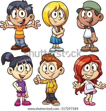Cute cartoon boys and girls. Vector clip art illustration with simple gradients. Each in a separate layer. - stock vector
