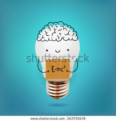 cute cartoon bulb character - Eco friendly electricity. - stock vector