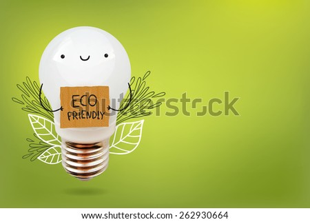 cute cartoon bulb character - Eco friendly electricity. - stock vector