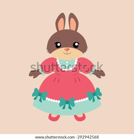 Cute cartoon bunny girl in a pretty pink dress. Vector illustration. - stock vector