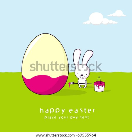 cute cartoon bunny painting an egg for Easter - stock vector