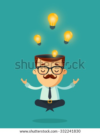 Cute Cartoon Businessman Meditating. Light Bulbs (Ideas) in His Head. Colorful Vector Illustration