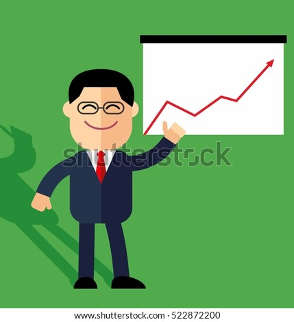cute cartoon businessman points to growth statistics. Annual statistics.