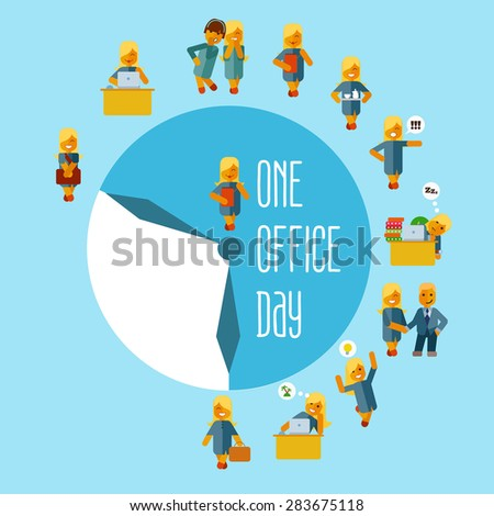 Cute cartoon businesswoman at office during his working day. Vector illustration in flat style showing various poses and activities. - stock vector