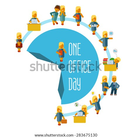Cute cartoon businesswoman at office during his working day. Vector illustration in flat style isolated on white background - stock vector