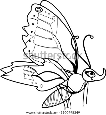 Cute Cartoon Butterfly Coloring Page