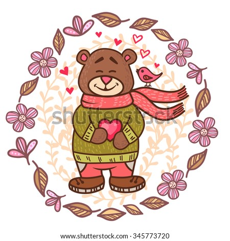 Cute cartoon card in vector with happy teddy bear. Valentines Day design. - stock vector